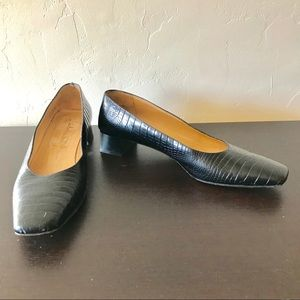 Vtg Salvatore Ferragamo 9 2A Square Toe Black Heel